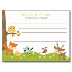 cute woodland animal baby shower advice cards