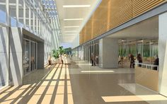 Architectural renderings of a northern California hospital facility. Creating a new standard for health care facilities, these interior renderings of the hospital illustrate some of the features of HOK's LEED certified design.    Some of these green design features illustrated in the renderings include skylights, open hallways, and interior green spaces to provide more natural lighting to the interior of public spaces and improve the overall health of the building.