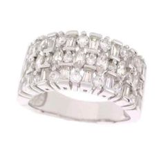 qvc EPIPHANY PLATINUM STERLING 1.65CT DIAMONIQUE MULTI STONE BAND + FREE STU D #Epiphany #Band