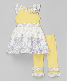 Look at this #zulilyfind! Yellow Damask Top & Pants - Infant, Toddler & Girls #zulilyfinds