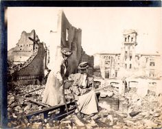 Two women in San Francisco earthquake ruins, 1906  San Francisco Public Library