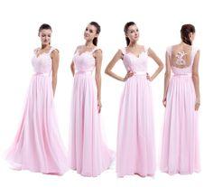 Straps Lace Bridesmaid Dresses,Open Back Lace Occasion Dresses,Pink