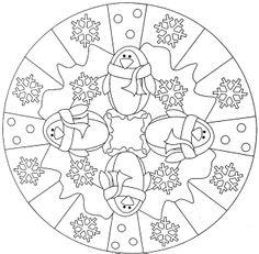 penguin winter mandala coloring pages