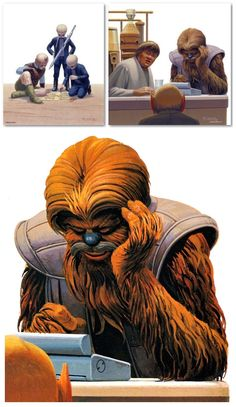 BOOK: These Ralph McQuarrie paintings can be found inside the 1995 Star Wars Mos Eisley Cantina Pop-Up Book, published by Little, Brown Book Group.  The Wookiee pictured here is Chalmun, the proprietor of the most popular space bar in Mos Eisley, Tatooine, the eponymous Chalmun's Cantina.