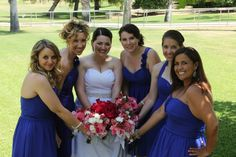 Bright blue and pink wedding