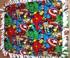 Marvel Avengers Super Hero Ultra Soft Fleec Blankets Hulk, Iron Man, Captain America, Thor. $25.00, via Etsy.