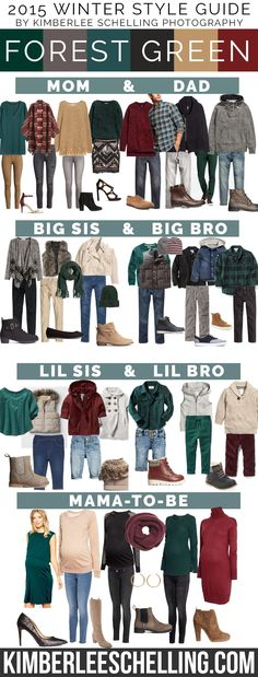 Family portrait outfits for 2015! What to wear for your family photos, including mom, dad, big sis & bro, little sis & bro, and also some maternity style outfit ideas! By Kimberlee Schelling Photography (Forest green, burgundy, neutral color palete)
