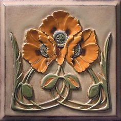 Lewellen Studio arts and crafts tile; craftsman bungalow; poppies