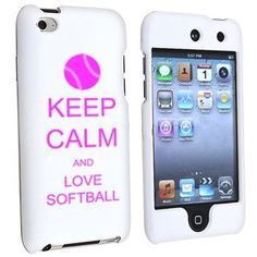 Apple iPod Touch 4th Generation White Rubber Hard Case Snap on 2 piece Hot Pink Keep Calm and Love Softball by MIP INC...... I NEED THIS