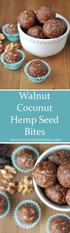 Just one of these yummy and nutritious no bake walnut coconut hemp seed bites will kick your afternoon sugar craving to the curb! Raw Desserts, Vegan Dessert Recipes, Good Healthy Recipes, Vegan Sweets, Vegan Snacks, Easy Snacks, Healthy Treats, Raw Food Recipes, Snack Recipes
