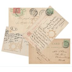 Steampunk Blank vintage style Postcards Digital Images for card making... (€3,43) ❤ liked on Polyvore featuring home, home decor, stationery and filler