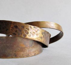 Bronze Cuff Set  Stacking Bronze Cuffs  Three by heartsabustin