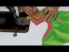 simple designer blouse cutting and stitching - Fun Clip Videos Patch Work Blouse Designs, Simple Blouse Designs, Saree Blouse Neck Designs, Stylish Blouse Design, Neckline Designs, Dress Neck Designs, Pattern Blouses For Sarees, Blouse Patterns, Sewing Patterns
