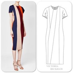 I always feature Victoria Beckham because she talks about garment construction during her collection interviews and how important it is to understand how design can compliment the female body. Love the sleeve on this, use of color-blocking & curved seams for shaping. #fashion #sewing #illustration #technicaldrawing #flatdesigns #love #sketch #sketching #drawing #fashionillustration #fashionillustrator #fashiondesign #fashiondesigner