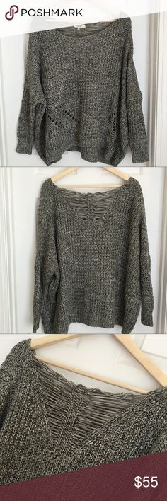 Cozy S&S Casual Oversized Destroyed Sweater Love this neutral Cozy S&S Casual Oversized Destroyed Cocoon Sweater (similar to dolman sleeve). Shades of gray and white. Size Large. Oversized for Small or Medium. True to size for Large. Beachy and comfy! Cozy S&S Casual Sweaters Crew & Scoop Necks