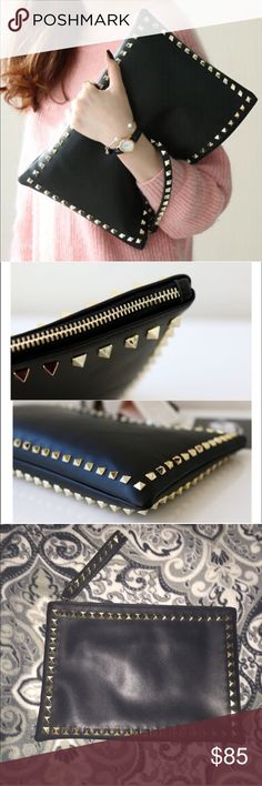 "💕Large Studded Clutch/Wristlet💕 32x22CM! This clutch is absolutely stunning! The pictures speak for itself! Really versatile! Lots of compartments inside! Very similar to the ""Valentino Rockstud Clutch!"" 🚨Price Firm 🚫No Trades! ✨I do have a few more coming soon, but These do sell REALLY fast, so don't let this beauty get away! Bags Clutches & Wristlets"