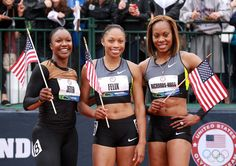 Carmelita Jeter ,Allyson Felix and Sanya Richards-Ross pose together following the Women's 200 Meter on Day 9 of the 2012 U.S. Olympic Track & Field Team Trials at Hayward Field on June 30, 2012 in Eugene, Oregon.