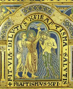 Nicolas of Verdun.Baptism of Christ, from the Verdun Altar. Enamel plaque in champleve technique on gilded copper (begun 1181)   Romanesque Champleve,12th cent.  Sammlungen des Stiftes,Austria