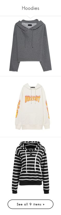 """""""Hoodies"""" by drskullz on Polyvore featuring tops, hoodies, sweatshirt hoodies, hooded pullover, loose tops, grey hoodie, loose hoodie, sweatshirts, sweaters and white hoodie"""