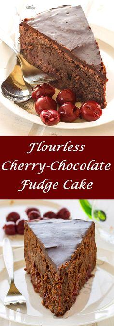Flourless Cherry-Chocolate Fudge Cake.   http://www.winnish.net/2013/03/1822/