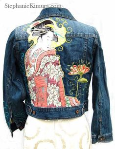 Geisha's Garden Denim Jacket WearableArt OOAK Cute Jackets, Denim Jackets, Jean Jackets, 50 Style Dresses, Denim Jacket Patches, Denim And Diamonds, Painted Clothes, Winter Jackets Women, Refashion
