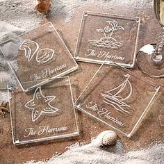 PMall's Seashore© Glass Coaster Set can be personalized with your family name in one of our 4 designs - PERFECT for you Summer Home! The set is just $32.95! #Beach #SeaShell #SummerHouse