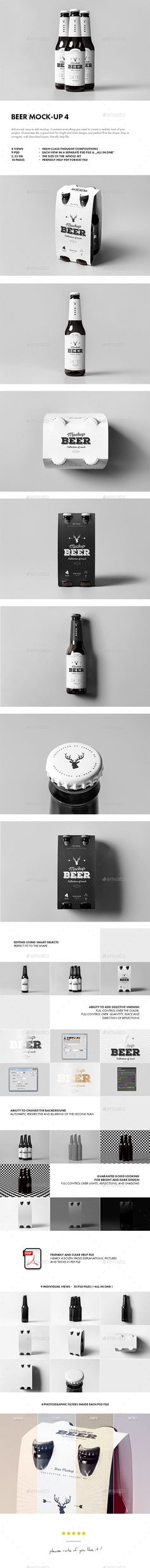Beer Mockup 4 — Photoshop PSD #beer #minimalist • Available here → https://graphicriver.net/item/beer-mockup-4/15954190?ref=pxcr