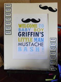 mustache baby shower welcome sign