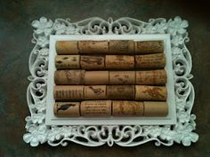Wine Cork Trivet. I made this by hot gluing wine corks to a picture frame