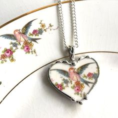Broken china jewelry heart pendant necklace bird of paradise rose garland made from antique recycled china