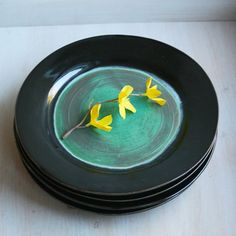 Ceramic Dinnerware Set of Four Handmade Ceramic by sheilasart