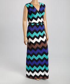 Another great find on #zulily! Blue Chevron Surplice Maxi Dress - Plus #zulilyfinds