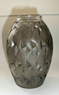 Rare Rene Lalique dark grey stained 'Grignon' pattern vase depicting stylised ears of wheat