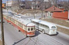 TTC Peter Witt Streetcars pass Grey Coach bus Rail Train, Baltimore City, Light Rail, Bus Travel, Train Layouts, Big Trucks, Public Transport, Buses, Ontario