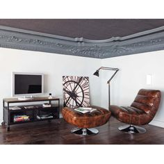 Mueble de TV negro con ruedas de metal y sheesham macizo An. 110 cm   Maisons du Monde
