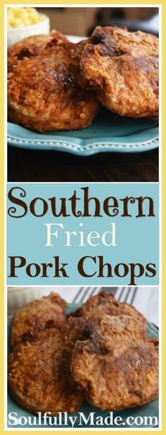 Southern Fried Pork Chops are sprinkled with seasoned salt, pepper & a little cayenne, if you want some spice, dredged in flour and pan fried until perfectly golden and delicious! This southern favorite is simple, but oh so scrumptious! Southern Fried Pork Chops, Pan Fried Pork Chops, Pork Chops And Rice, Fried Boneless Pork Chops, Skillet Pork Chops, Fried Steak, Skillet Meals, Easy Pork Chop Recipes, Pork Recipes