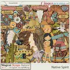Native Spirit  Native Spirit is a Native American inspired collection that captures the essence of the Southwest desert. With its warm color palette, this kit overflows with native elements such as tepees, an Indian chief headdress, a dream catcher, a tomahawk, arrows and bows, native pottery, Indian symbols, Pueblo buildings, cactus and feathers, to name just a few. This collection also includes several of my own custom-drawn desert animals such as a coyote, an armadillo, a buffalo, a…