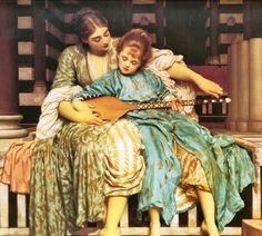 Lord Frederic Leighton: The Music Lesson. 19th century Orientalism depicted women in both private & public spaces