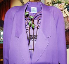 Long dressy lilac wool jacket from the 80s with quirky by YustaWas
