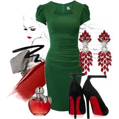 """1/50: Red + Green"" by eiluned on Polyvore"