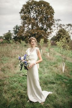 Charlie Brear dress A Sweet September Wedding With A Touch of Glamour, Pom Poms, Peach, Gold and Blue Vintage Inspired Wedding Dresses, Vintage Bridal, Vintage Dresses, 1930s Wedding, Rustic Wedding, Perfect Wedding Dress, Boho Wedding Dress, Wedding Bouquets, Wedding Blog