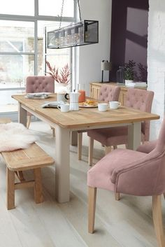 Buy Huxley Painted 6 To 8 Seater Extending Dining Table from the Next UK online shop 8 Seater Dining Table, Pine Dining Table, Rectangle Dining Table, Dining Table Design, Extendable Dining Table, Dining Table In Kitchen, Dining Area, Solid Pine Furniture, Table Furniture