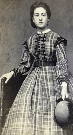 Amsterdam, ca. 1863-66. Photo: K Hamburger, C Karsen. Rijksmuseum. 1860s civil war era (Dutch). Young Victorian lady wearing a lovely plaid dress.