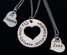 Mother's Day Jewelry - Hand Stamped Mother Daughter Necklace Set of Three- The Love Between Mother and Daughter is Forever and Ever by PrettyByPriscilla