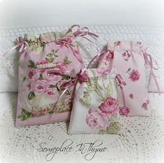 Set Of Three Jewelry/Gift Bags-jewelry bags, gift bags, fabric bags, roses, pink roses, cotton fabric, handmade, ribbon