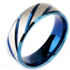 7mm 316l Stainless Steel Ring Two Tone Blue White Stripe Engagement Wedding Band:Amazon:Jewelry