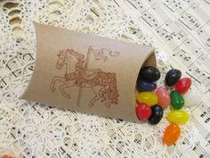 Carousel Horse Kraft Paper Party Favor Small Pillow Boxes- Set of 10