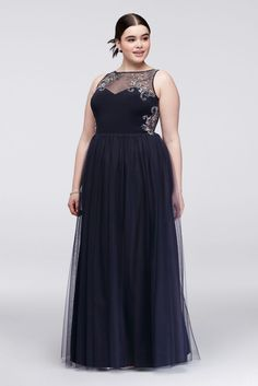 Looking for pretty plus size prom dresses? Shop David's Bridal for prom gowns and Hoco dresses available in sizes Shop online or book an appointment in store near you online! Plus Size Long Dresses, Bridesmaid Dresses Plus Size, Prom Dresses For Teens, Prom Dresses Blue, Short Dresses, Plus Size Gala Dress, Plus Size Homecoming Dresses, Illusion Neckline Dress, Xl Mode