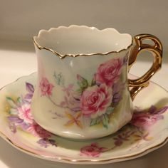 Lefton Demitasse Gold Gilt Cup and Saucer Heritage by Visualaromas