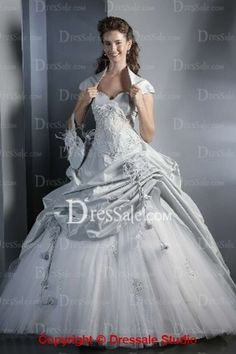 Insanely Glamorous Sweetheart Taffeta Wedding Dress with Exquisite Applique and Pick-up Details